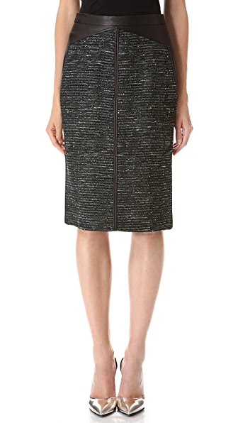 J. Mendel Leather & Tweed Pencil Skirt