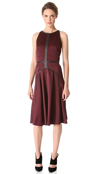 J. Mendel Jacquard Dress with Leather Trim