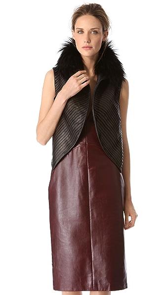 J. Mendel Strip Leather Vest with Fur Collar