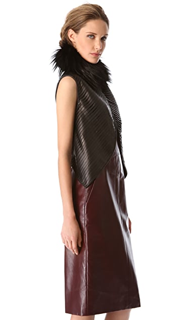 J. Mendel Strip Leather Vest with Fur Collar