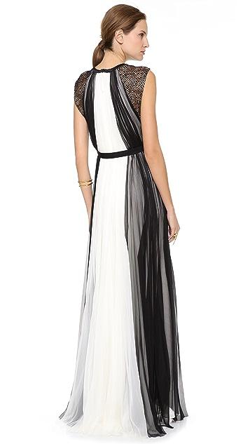 J. Mendel Shredded Lace Panel Gown