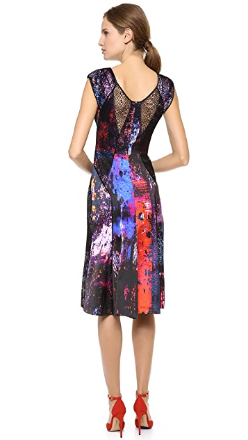 J. Mendel Net Panel Cocktail Dress