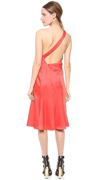 J. Mendel One Shoulder Draped Cocktail Dress
