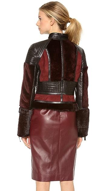 J. Mendel Colorblock Motorcycle Jacket with Mink Fur