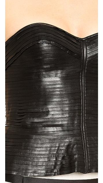 J. Mendel Strip Mounted Leather Bustier