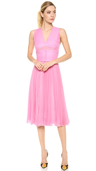 J. Mendel Sleeveless Dress with Pleated Skirt