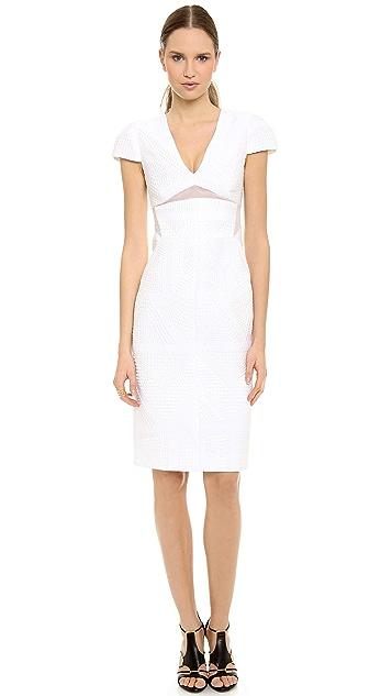 J. Mendel V Neck Cap Sleeve Dress