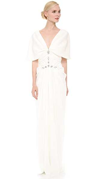J. Mendel Pleated V Neck Gown