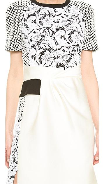 J. Mendel Mixed Lace Trompe l'Oeil Dress