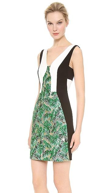 J. Mendel Colorblock Leaf Brocade Dress