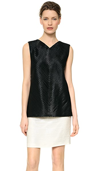 J. Mendel Chevron Sliced V Neck Top