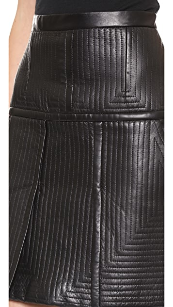 J. Mendel Traunto Stitched Leather Skirt