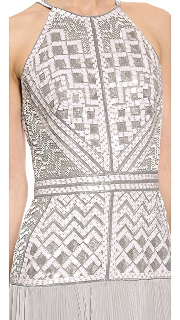 J. Mendel Halter Gown with Embroidery