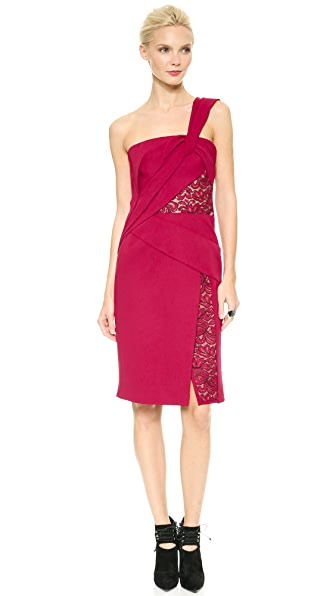 J. Mendel One Shoulder Draped Dress