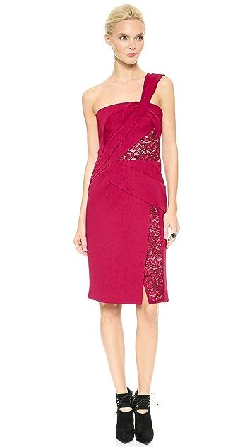 J. Mendel One Shoulder Draped Dress