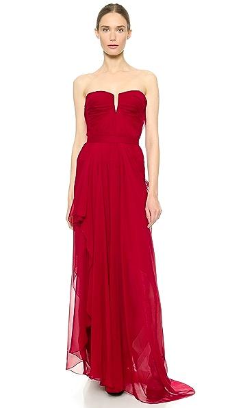 J. Mendel Draped Strapless Gown