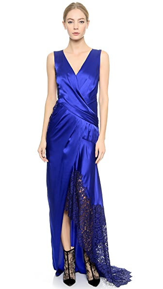 J. Mendel Lace Edge Satin Gown