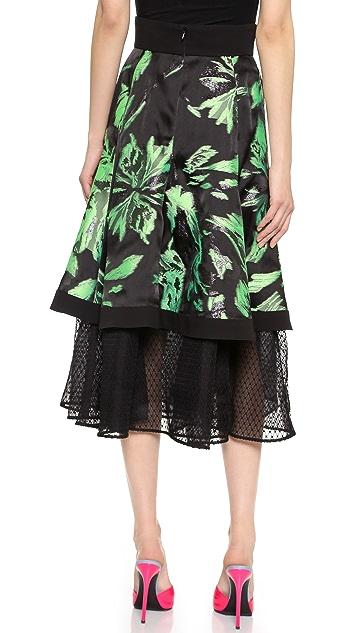 J. Mendel Noir Net Flare Skirt