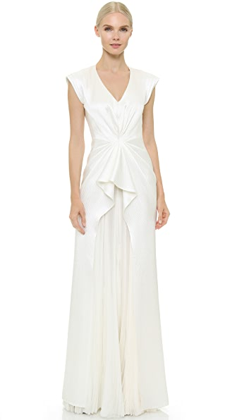 J. Mendel Monika Sleeveless V-Neck Gown
