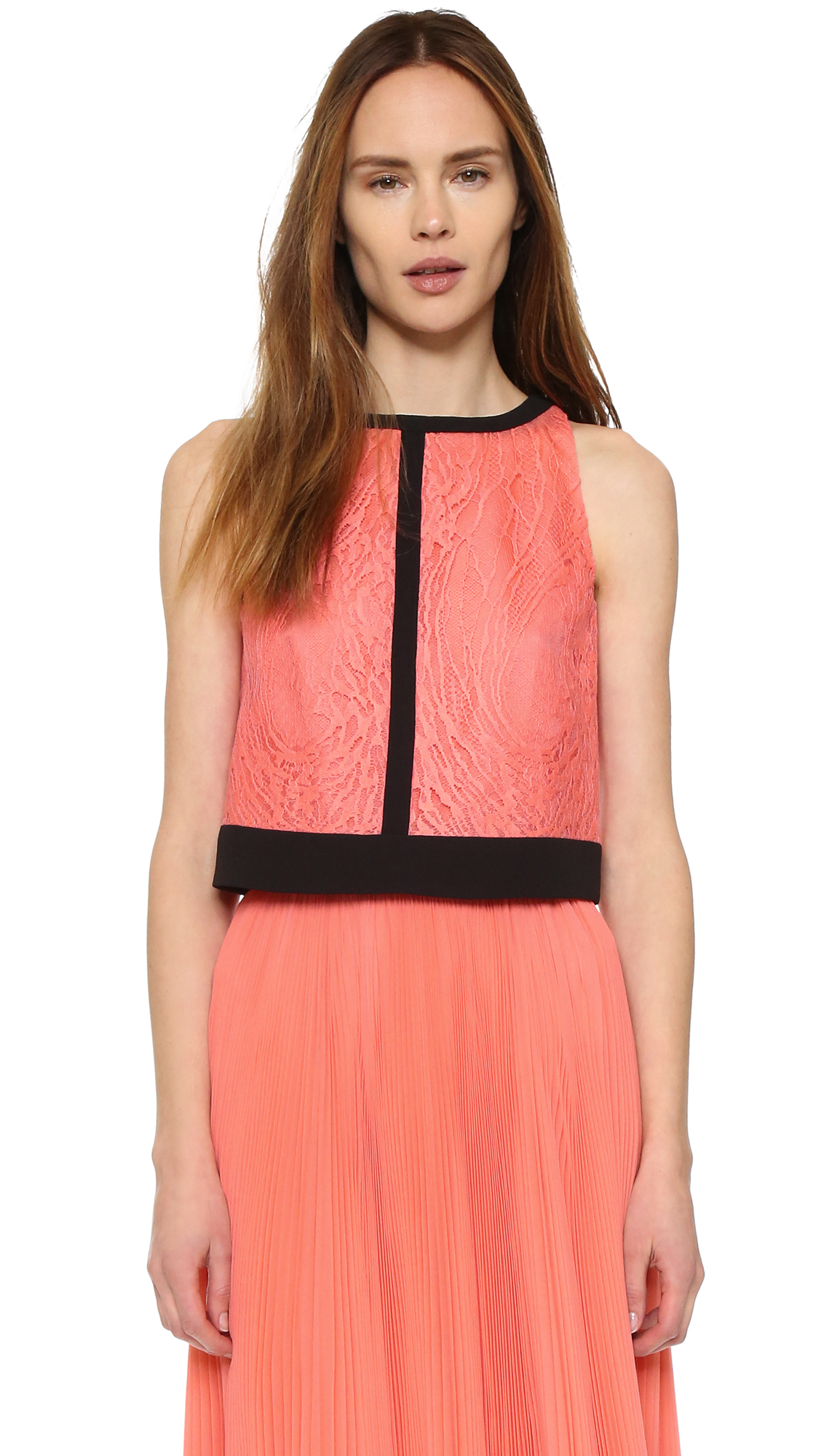 J. Mendel Lace Crop Top - Coral