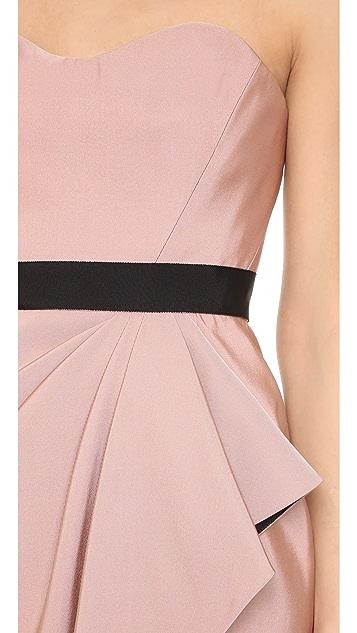 J. Mendel Bustier Dress with Draped Wrap Skirt