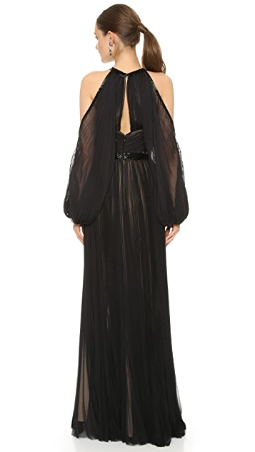 J. Mendel Pleated Halter Gown