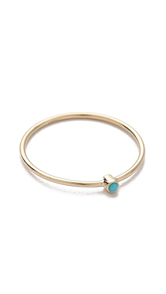 Jennifer Meyer Jewelry Thin Ring with Turquoise