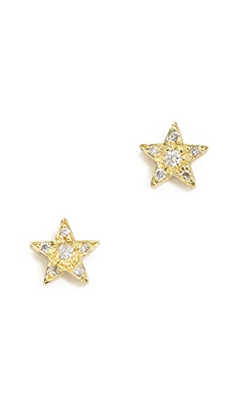 Jennifer Meyer Jewelry Diamond Mini Star Stud Earrings