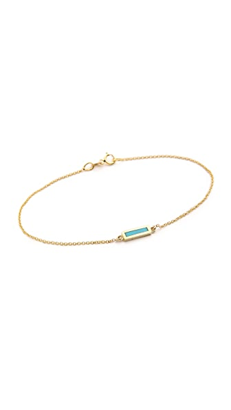 Jennifer Meyer Jewelry 18k Gold Inlay Short Bar Bracelet In Gold/Turquoise