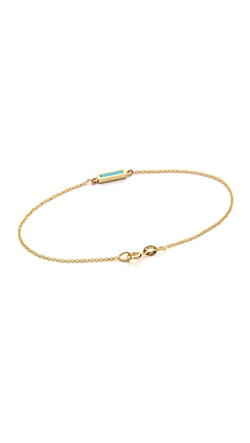 Jennifer Meyer Jewelry 18k Gold Inlay Short Bar Bracelet