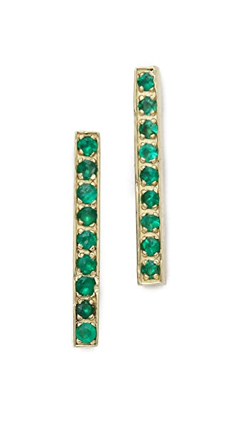 Jennifer Meyer Jewelry Long Bar Stud Earrings