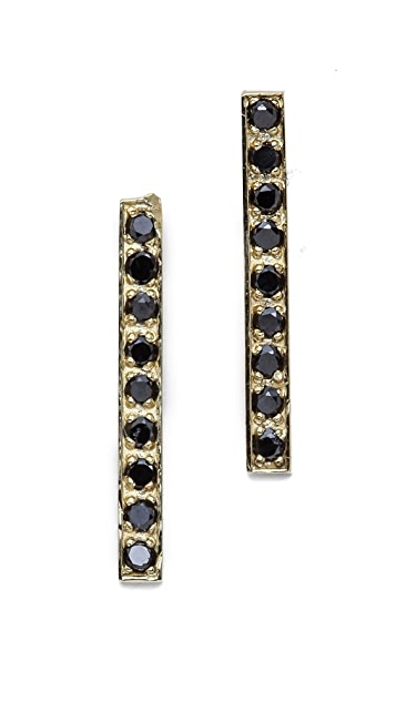 Jennifer Meyer Jewelry Diamond Long Bar Stud Earrings