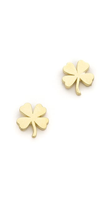 Jennifer Meyer Jewelry 18k Gold Mini Clover Stud Earrings