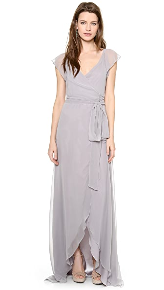 Joanna August Dorian Ruffle Sleeve Wrap Dress - Silver Bells