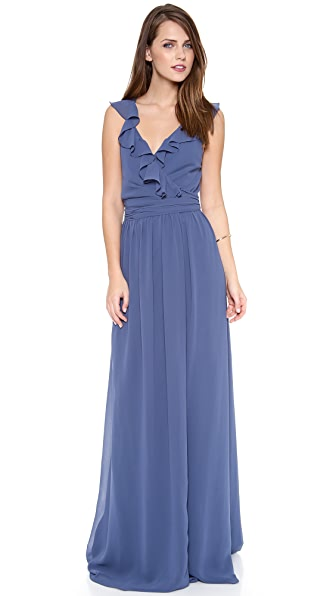 Joanna August Lacey Ruffle Wrap Dress - Blue Moon