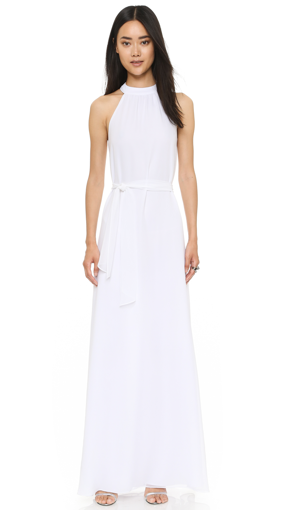 Joanna August Elena Collar Column Dress - White Wedding