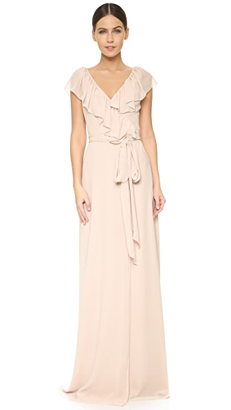 Joanna August Lolo V Neck Ruffle Wrap Dress In All Tomorrow'S Parties