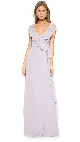 Joanna August Lolo V Neck Ruffle Wrap Dress - Silver Bells