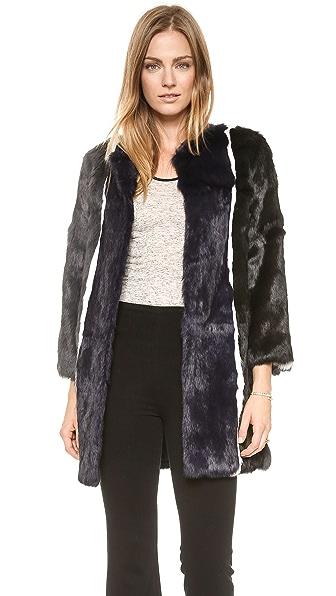 Jocelyn Stripe Fur Coat