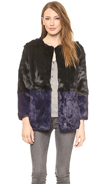 Jocelyn Colorblock Fur Coat