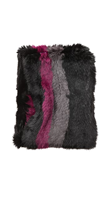 Jocelyn Color Striped Knitted Fur Infinity Scarf