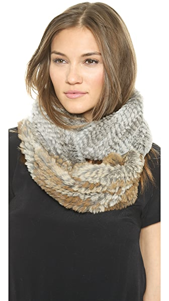 Jocelyn Diagonal Colorblock Fur Infinity Scarf