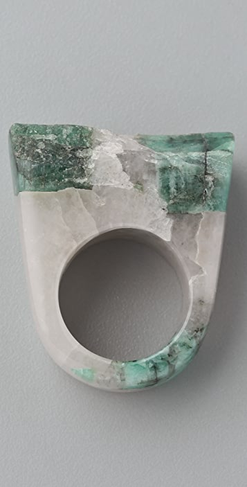 Jody Candrian Jewelry Quartz & Raw Emerald Ring