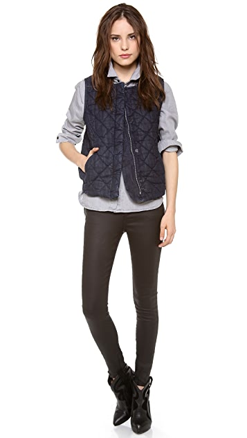 Joe's Jeans Quilted Denim Moto Vest
