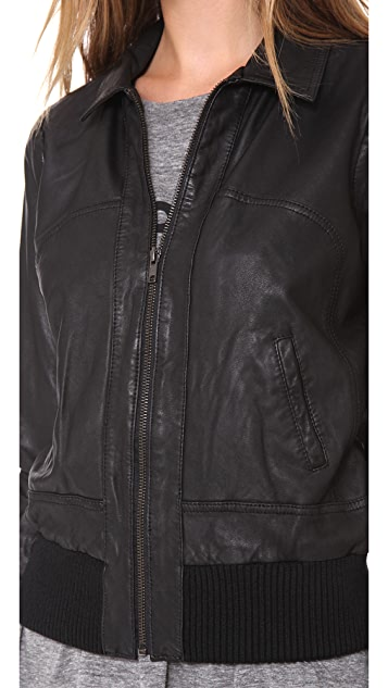 Joe's Jeans Leather Bomber Jacket