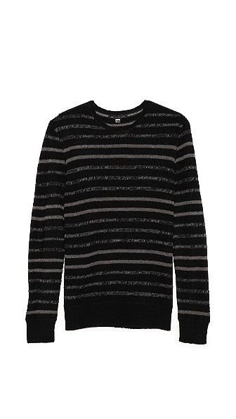John Varvatos Star USA Striped Crew Neck Sweater
