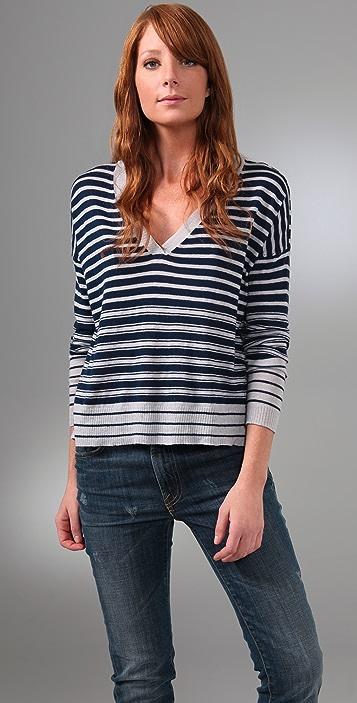 Joie Jeanie Striped V Neck Sweater