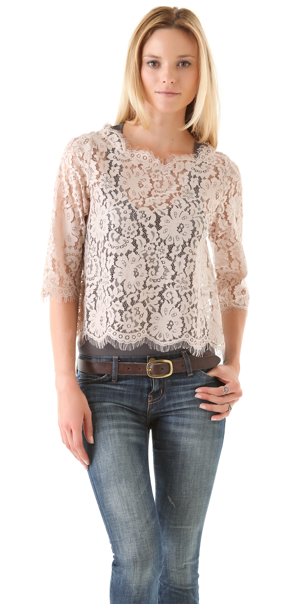 67bcf51365279 Joie Elvia Back Button Lace Top
