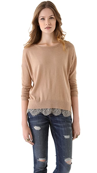 Joie Hilano Lace Trim Sweater