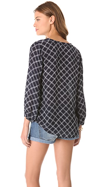 Joie Lerona Print Plaid Top